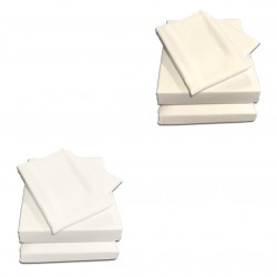 Adjustable Bed Sheet Set - 400 Count 100% Cotton - White & Ivory