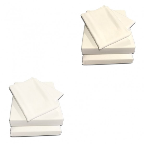 Small Double Sheet Set in 400 Count Cotton - White or Ivory - 4ft x 6'3""