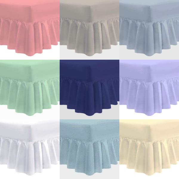 "4'6"" x 6'3"" Double Bed Valance Sheet in Easy Care - 11 Colours"