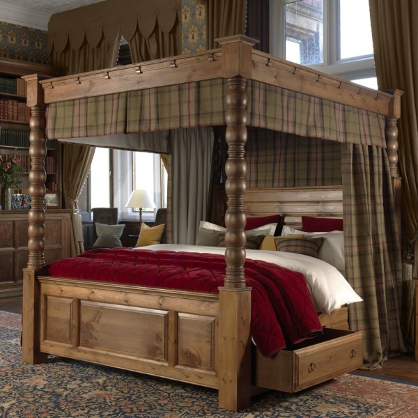 Four Poster Bed Curtains In Plain Panama Fabric Plain