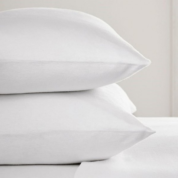 Std 75 x 50cm Flannelette Pillow Cases in white or Ivory