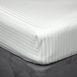 Small Double 540 Thread Count Cotton Satin Stripe Fitted Sheet - 3 Colours
