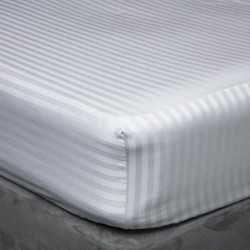 """90 x 200cm, 3' x 6'6"""" Fitted Sheet - 540 Thread Count Satin Stripe - 3 Colours"""