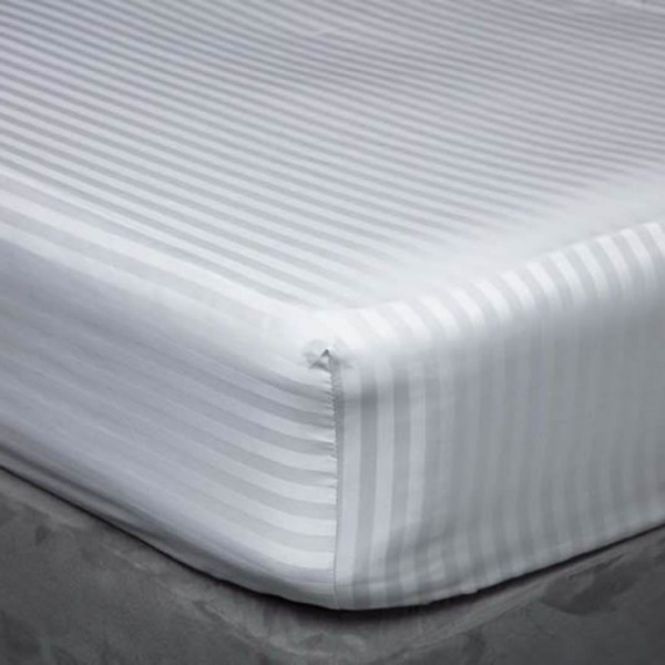 Long King - 5' x 7' - Fitted Sheet in 540 Satin Stripe Cotton - 3 Colours