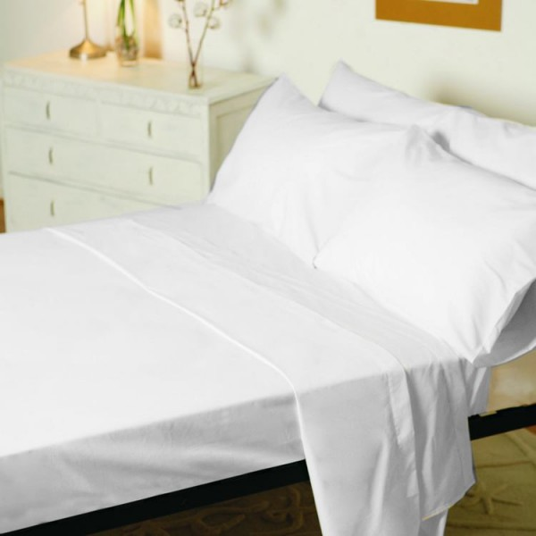 "3ft 6"" x 6ft 6"" Large Single Fitted Sheet in 1000TC Cotton - White"