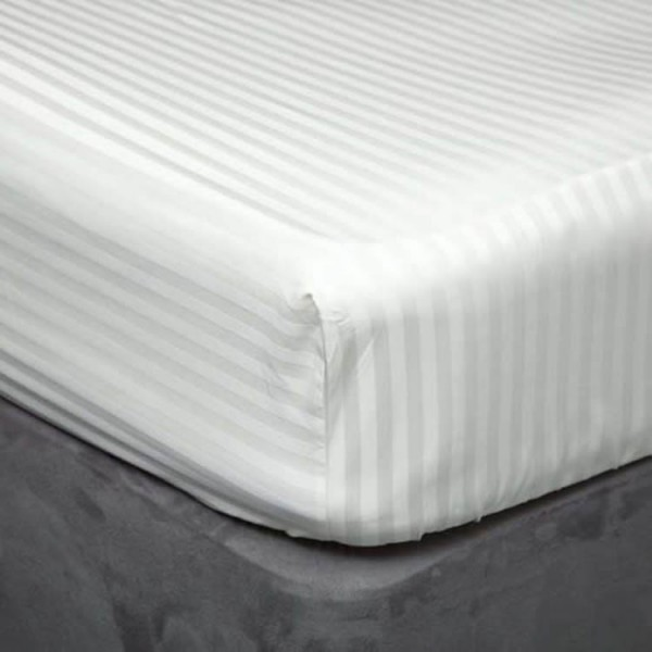 "100 x 200cm - 3'3"" x 6'6"" Fitted Sheet - 540 TC Satin Stripe - 3 Colours"
