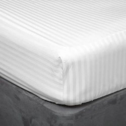 "90 x 200cm - 3' x 6'6"" Fitted Sheet in Satin Stripe - 100% Cotton - White or Ivory"