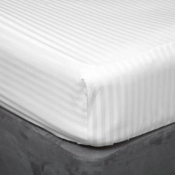 King Fitted Sheet in 200TC Cotton Satin Stripe - 100% Cotton - White or Ivory