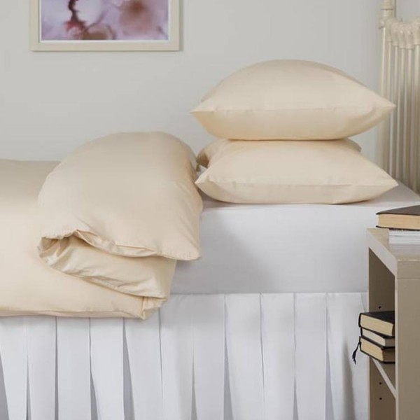 "Double Fitted Sheet in 100% Cotton - 4'6"" x 6'3"" - Ivory"