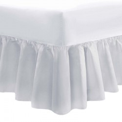 100 x 200cm Bed Valance - 400 Count Cotton - White or Ivory
