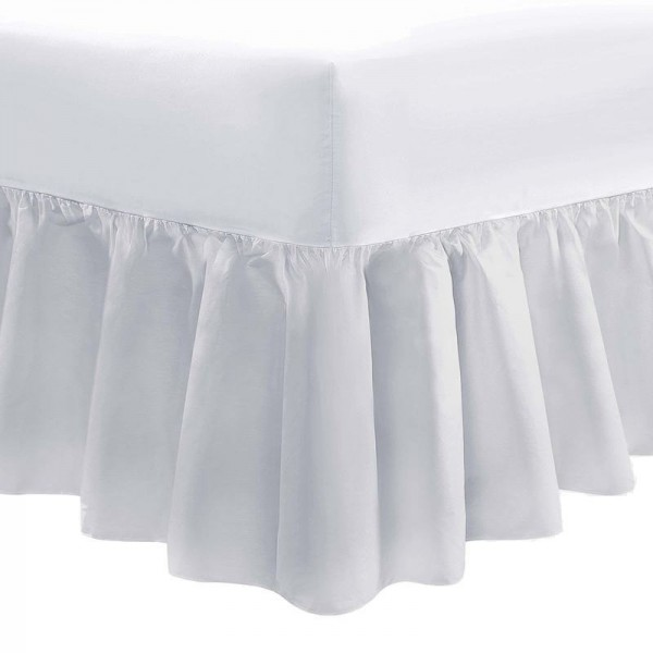 90 x 200cm Bed Valance - 400 Count Cotton - White or Ivory