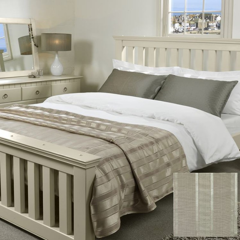 Striped Bedspread In Wordsworth Bronze Striped Bronze