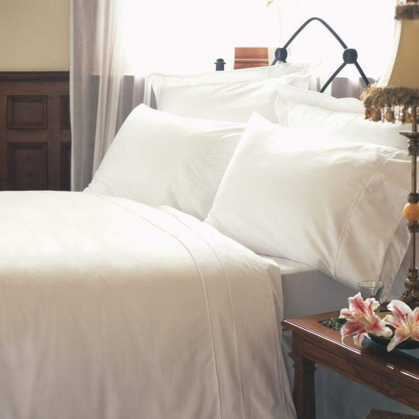 "Small Super King Flat Sheet in 400 Count Cotton - White or Ivory - 104"" x 105"""