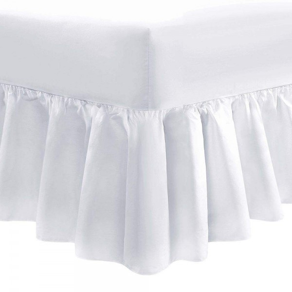 "Small Double Fitted Valance - 4' x 6ft 3"" - 1000 Thread Cotton - White"