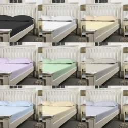 "3ft 6"" x 6ft 6"" Large Single Fitted Sheet in Poly Cotton - 11 Colours"