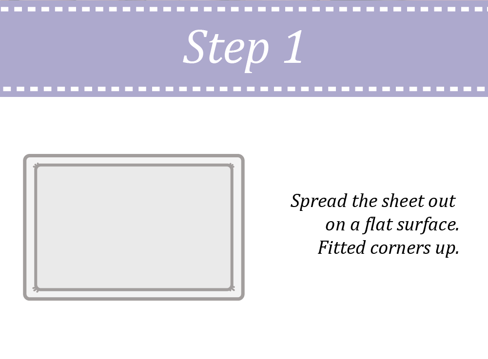 Spread the 4ft fitted sheet on a flat surface