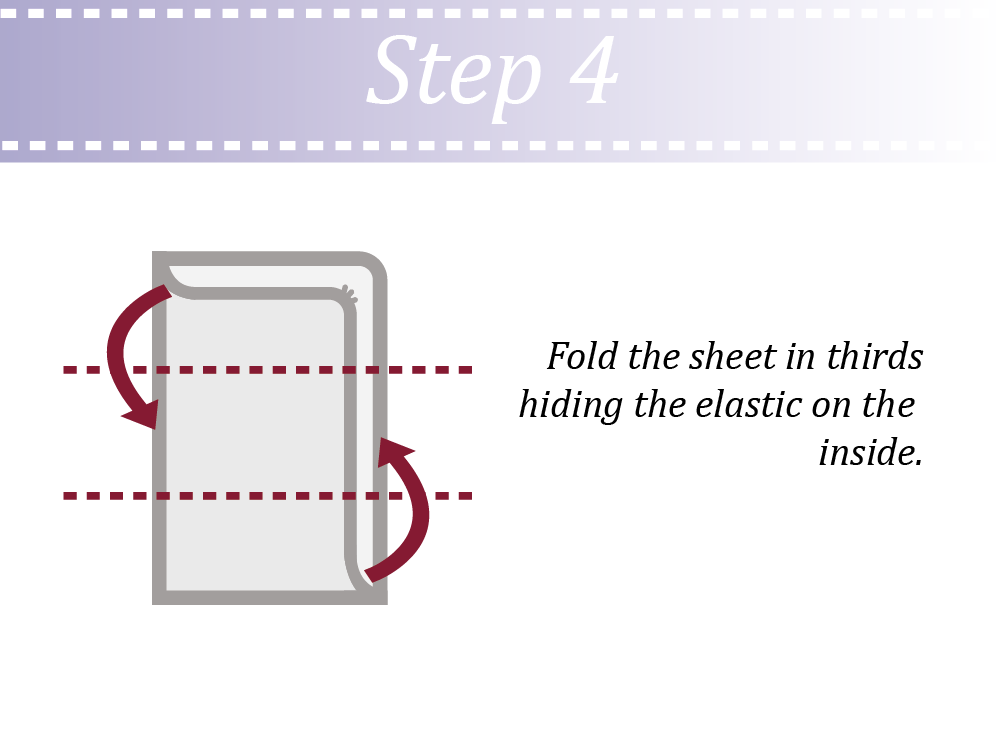 Fold the sheet in 3 and hide elastic